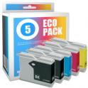 Pack de 5 cartuchos de tinta compatibles  -  BROTHER LC970  -  2 negro + 1 cian + 1 magenta + 1 amarillo  -  (LC970VAL)